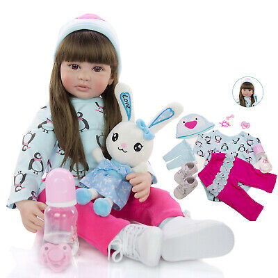 24'' Toddler Reborn Baby Doll Real Look Baby Girl Doll Soft Cloth Body Xmas Gift