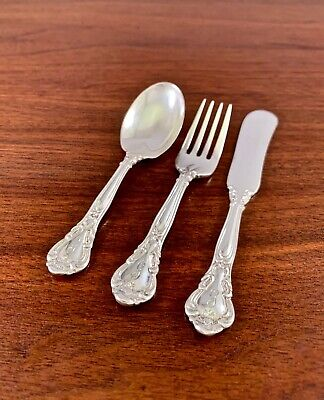Birks 3 Piece Sterling Silver Baby Feeding Set (Fork, Spoon, Knife): Chantilly