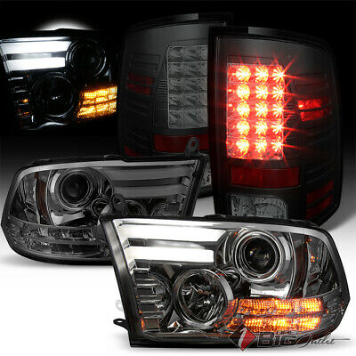 For 10-18 Ram 2//3500 09-18 1500 Mystery Black Smoked Halo Projector Headlights