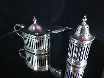 Edwardian Silver Plate Lidded Mustard Pot w/Spoon & Salt Pot - Blue Glass Liners