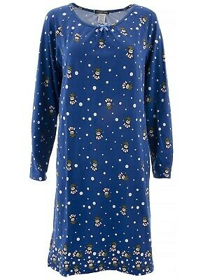 Elegant Emily Womens Blue Christmas Owl Long Sleeved Nightgown