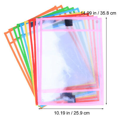 10x Dry Erase Pocket Sleeves Resuable Write Wipe Pockets for Students Children