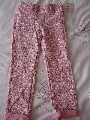 Mothercare girls heart print jeggings stretch trouser 3-4Y NWT