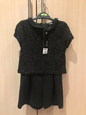 BNWT Girls Black Smart Party Shorts Playsuit Outfit 4-5 Years Summer Jumpsuit