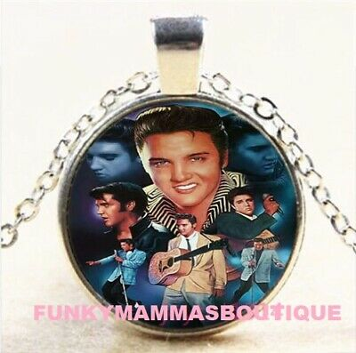 Vintage Elvis Presley Picture Pendant Necklace The King of Rock Art Jewelry Gift