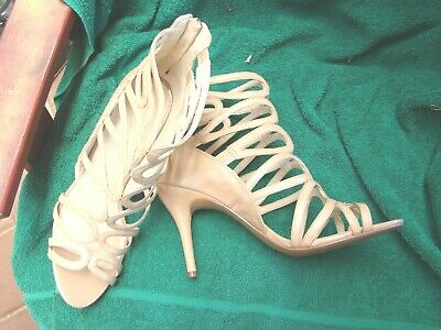 ladies size 40/9 m beige leather NINE WEST strappy NEW shoes 10cm heels zip back
