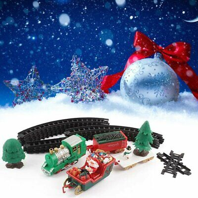 Electric Christmas Train Track Set Light Musical Sound Around Tree Kids Xma Gift