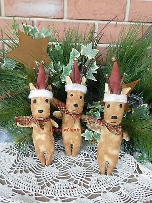 Primitive Set of 3 Grungy Reindeer Christmas Ornies Ornaments Decoration Doll