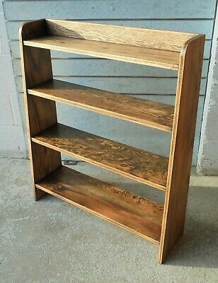 ANTIQUE VINTAGE FREESTANDING OPEN SHELF SOLID OAK BOOKCASE . Postage just £11.99