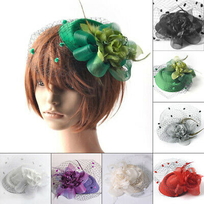 Women Hair Clips Facinator Feather Headwear Floral Veil Mesh Cocktail Party Hat