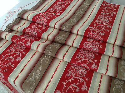 "Antique French Floral Damask Cotton Ticking Fabric Red Stripe 1900 26"" X 76"""