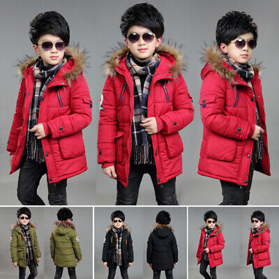 Boys Kids Hooded Quilted Puffer Coats Cotton Winter Jacket School Parka Overcoat