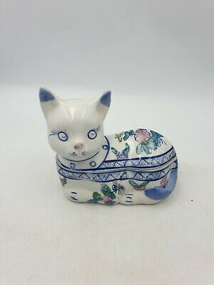 Chinese Ceramic Blue White Pink Floral Sitting Cat Trinket Box Figurine Handpntd