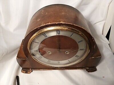 Smiths Enfield Mantle Wooden Clock For Spares or Repair.