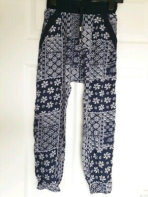Brand New Nutmeg Navy Print Girls Trousers Age 9-10 Years