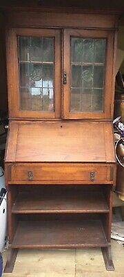 1930s Oak Bureau Bookcase With Glazed Stained Glass Top