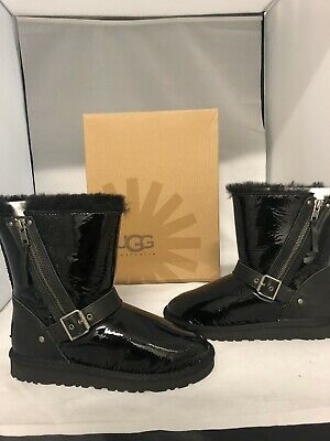 UGG AUSTRALIA YOUTH KIDS GIRLS BLAISE PATENT BLACK BOOTS SIZE 2y