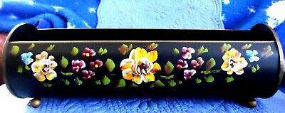 Vintage Toleware Planter Painted Flowers - Folk Art - Lovely!