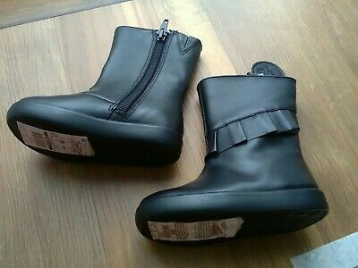 New Marks & Spencer Girls Black Winter Leather Boots Size 5