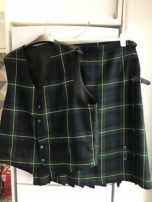 glenfiddich Ladies Scottish Kilt & Matching Waistcoat Size L XL Fab