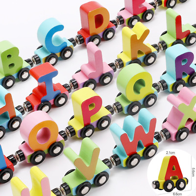Personalised Wooden Alphabet Letters Magnet ABC Train A-Z Name Toy Set Xmas Gift