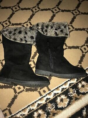 Next Baby Girls Black Boots With Fur. Brand New