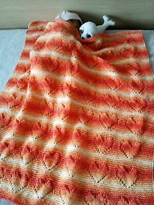 Hand knitted baby/children blanket/quilt with hearts