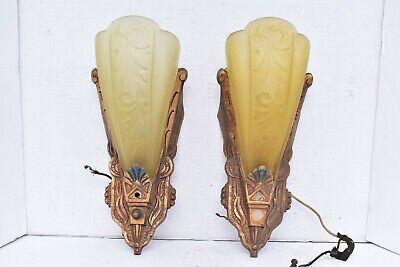 Pair 30s Art Deco Slip Shade Amber Antique Wall Sconce Fixtures Vintage RARE