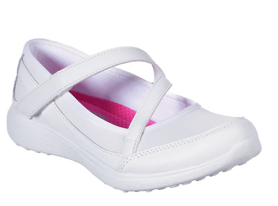 Girls Skechers MICROBURST - SCHOLAR SPIRIT White School Shoe UK12.5