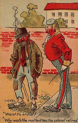 1910 Tramp & Soldier Want To Enlist? Why Has The Colonel Retired? Postcard Used