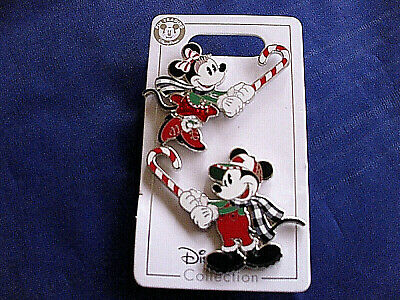 Disney * MICKEY & MINNIE w/ CANDY CANES * New on Card 2-Pin Holiday Set