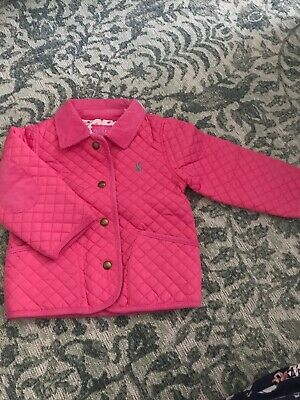Bnwt Joules Kids Girls Baby Pink Quilted Jacket Coat 2-3 Years