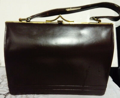 Art Deco 1930s, Dark Brown Leather Frame Bag, Handbag, Suede Lined, Good Cond.