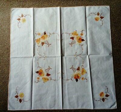 Vintage, Hand Crafted Small Applique Tablecloth, Never Used