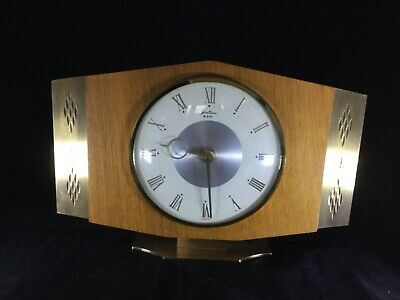 Bentima Retro/Vintage 50's/60's Mantel / Mantle Clock - Brass/Wood - French Mech