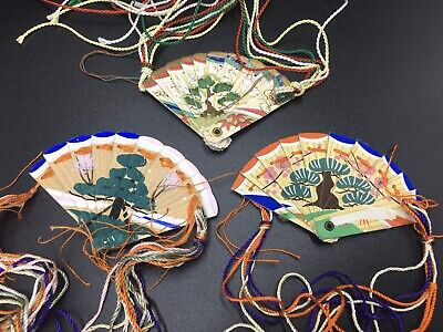 Japanese Doll Miniature SENSU FAN For HINA Ningyo / Paper / Wood/ Lot of 3