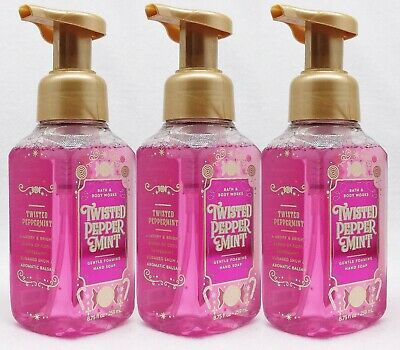 3 Bath & Body Works TWISTED PEPPERMINT Gentle Foaming Hand Soap