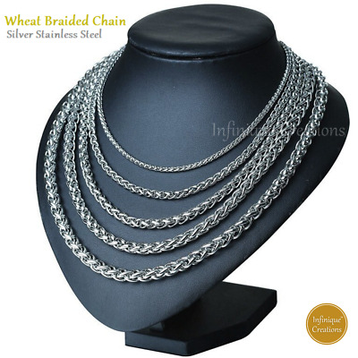"Men Women Stainless Steel Silver Wheat Braided Chain Necklace Bracelet 7""-38"""