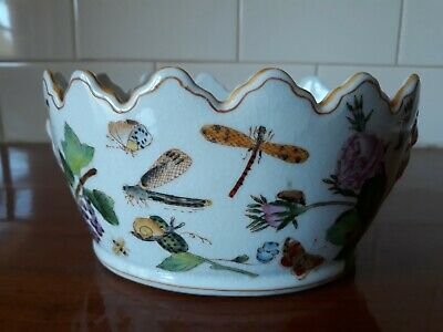 Antique Scallop Edge Bowl Chinese? Lions Head Goldfish Flowers Butterflies...