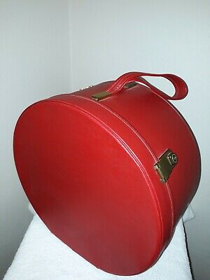 Vintage 1950s 1960s REGAL Cherry Red Satin Lined Travel Hat Box Case Luggage