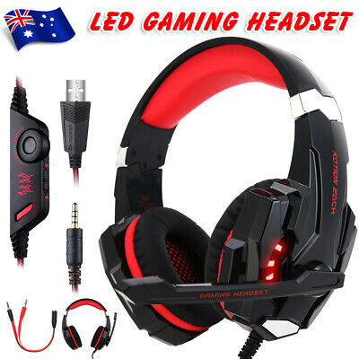 3.5mm Gaming Headset G9000 MIC LED Headphones for PS4 Xbox One Laptop Mac Red