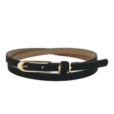 Lovely Women Girl Buckle Candy Color Thin Skinny PU Leather Belt Black