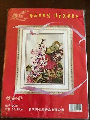New Ribbon Embroidery Kit Flower Fairy Angel And Flowers Needlework Craft Kit