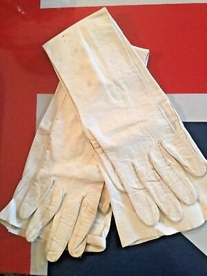 Genuine Antique White Kid Leather Opera Gloves Pearl Buttons Size 6 1/2 France
