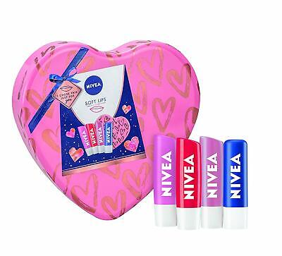 NIVEA Soft Lips Gift Set For Her, Lip Balm Set In A Heart Shaped Tin