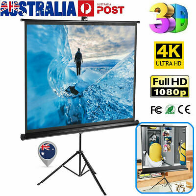 "100"" 16:9 Portable Pull Up Projector Screen Projection with Stable Stand Tripod"