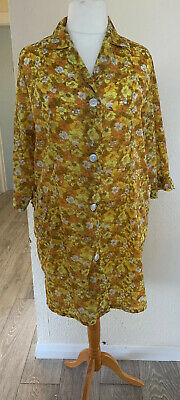 Vintage 1960s Flower Power Nylon Overall Housecoat Size Yellow And Orange 22 ish