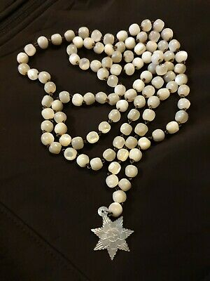 Antique  / Vintage Mother Of Pearls Rosary Bead Necklace Made In Bethlehem