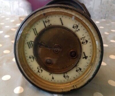 Antique  French Clock Movement Frame Straps Dial Bevelled Glass Bezel Back Door
