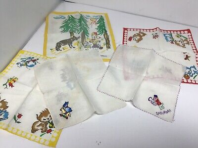 Five Childrens Vintage Handkerchiefs Includes 2 Hand Embroider & Red Riding Hood